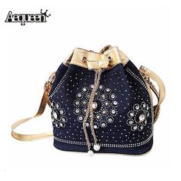 Wholesale Blue Jean Bag - Wholesale-New Women Demin Handbags Rhinestones Chain Shooulder Crossbody Bag Vintage Style Rivet Tassel Jean Cloth Bucket Bolsa Feminina