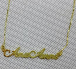 Wholesale Gold Name Plates - Wholesale-925 silver jewelry customized silver name necklace Gold Plated name necklace with Box Chain