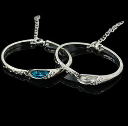 Wholesale Korean Style Bangles For Women - Korean Style Crystal Bangle Austrian Crystal Bracelet Silver Plated Elegant Lady Bangles Jewelry for Women Girls