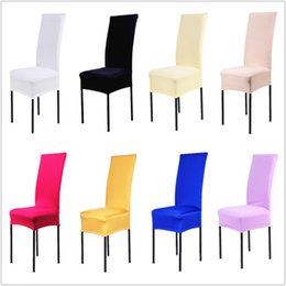 Wholesale Spandex Chair Covers Pink Wholesale - Chair Covers 24 Solid Colors Polyester Spandex Dining For Wedding Party Chair Cover Brown Dining Chair Seat Covers