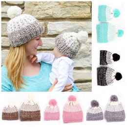 Wholesale Crochet Sets For Infants - Beanies for Mother and Baby Winter Fitted Hats Women Kid Newborn Toddlers Fashion Infant Crochet Warm Family Cap Set New