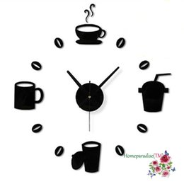 Wholesale Coffee Cup Wall Clocks - Wholesale- Coffee Cups Kitchen Wall Art Clock Modern Design Quartz Non-ticking Silent Watches Home Decoration Decor Sticker For Living Room