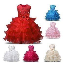 Wholesale Tutu St - Children's Wedding Dress Girl Dress Kids Ruffles Lace Dresses for Girls Princess Tutu Dress for Wedding Party Events Wear Girls