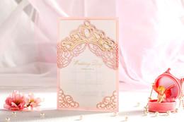 Wholesale High Wedding Crown - Wholesale- 50pcs lot High Quality 185*130mm Pink princess crown Invitation Cards Celebration Party invitation cards Wedding Favor Decor
