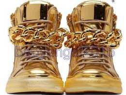 Wholesale Hip Hop High Top Sneakers - Top Brand Designer Zapatos Hombre Round Toe Men Hip Hop Sneakers Gold Chains Men Casual Shoes High Top Sneakers