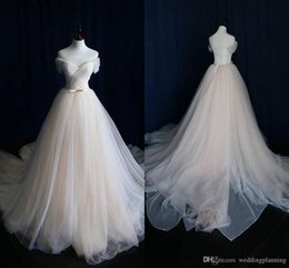 Wholesale Tiered Lace Fabric - Real Image Wedding Dress 2018 Elegant Fabric Tulle Off Sholder train plus size custom made Weddding Gown Bridal Gowns