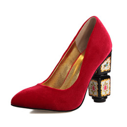 Wholesale Orange Dress Shoes For Women - 2017 spring autumn Ethnic high heels square heel pointed toe slip on pumps shoes for woman flowers printing dress party shoes