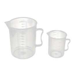 Wholesale Liquid Measuring Cups - Wholesale- SOSW-2-in1 Plastic Lab Liquid Container Measuring Beaker Cup 300mL 1000mL Clear