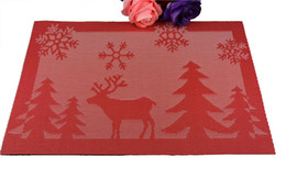 Wholesale Square Dishes Set - Wholesale- 4pcs lot Merry Christmas Table Mat Set For Dinning Table Kitchen Non-slip Pads Red Silver Yellow Deer Tree Placemat For Cup Dish