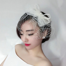 Wholesale Wedding Forehead Headdress - Woman headdress hair The bride of Pearl lace bow hair comb hair forehead stereo veil wedding dress with black and white accessories