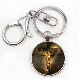 Wholesale Jesus Metal Pendant - God Sun Jesus Keychain Glass Pendant Hallow Key Chain Unisex Jewelry Best Gift For Friend Family Drop Shipping