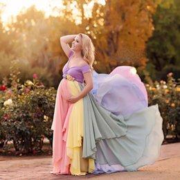 Vestidos de fiesta de colores para la gasa de la mujer embarazada del hombro Vestidos de noche Mangas de manga corta Vestido de fiesta hecho a mano del marco de las flores desde fabricantes