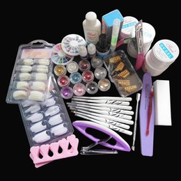 Wholesale Nail Art Base - Wholesale- New Kit !Nail Art UV Gel Solid Extension Manicure set + Builder Polish brush + base coat + top coat nail art set