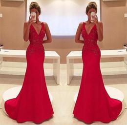 2019 robe de mariée rouge 2017 Élégant Rouge Sirène Robes De Soirée Sexy V Cou Appliques Longue Partie De Bal Robes Celerity Vêtements Habillés De Mariée Robes De Réception promotion robe de mariée rouge