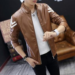Wholesale Leather Long Jacket Brown Men - 2017 New Youth leather jacket slim casual PU coats