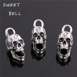 Wholesale Silver Jewelry Skulls - SWEET BELL Min order 10pcs 12*30MM antique silver Alloy 3D Skull charms Pendant Jewelry Findings D6127