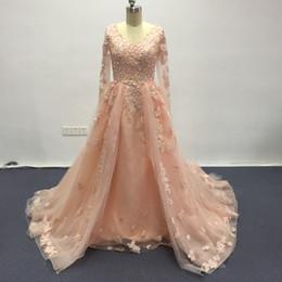 Vestidos de noche de manga larga verdadera V cuello de encaje de cuentas de apliques una línea de vestidos de noche por encargo desde fabricantes