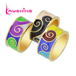 Wholesale Unique Style Engagement Rings - New Arrival Unique Boho Style Colorful Enamel Geometric Pattern Round Gold Plated Finger Rings For Women Bijoux