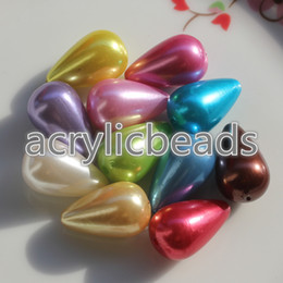 Wholesale 24mm Acrylic Beads Wholesale - 50pcs Cheap 15*24mm Acrylic Teardrop Shaped Plastic Pearl Beads Faux Pearl Beads for Decorating Charms Necklace Making