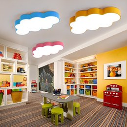 Wholesale baby bedroom lighting - LED cloud kids room lighting children ceiling lamp baby ceiling light with yellow blue red white color for boys girls bedroom fixtures