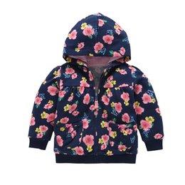 Wholesale Wholesale Clothing Hoodies - Baby Girls Flower Hoodie Full Zipper Coats 2017 Fall Infant Clothes Baby Girls Cotton Casual Sweatshirts Baby Baseball Cardigan Coats