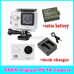 "Wholesale Extra Lenses - New Original EKEN H9 Action camera HD 4K WiFi 2"" LCD 170D lens Helmet Cam + Extra Battery + Dock Charger 30M Waterproof Sports camera"