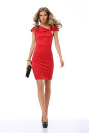 Wholesale Tight Fitted Pencil Dress - 2017 Fashion Women Dresses Collar Lrregular Tie a Knot Design Euro-US Style Red Sexy Women Tight-fitting Dress