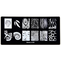 Wholesale Feather Manicure - Wholesale- Nail Stamping Plate Konad Stamping Include Peacock feather Cobweb shell snails Nail Art Manicure Template Nail Stamp Tools A-030