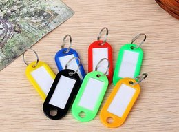 Wholesale Factory Labels - Factory Price 1000pcs lot Wholesale Plastic Key ID Labels Tag Cards Ring Name Key Chains With Name Cards