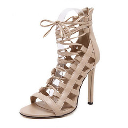 Wholesale Cm Boots - Sexy Women Ankle Strap Hollow out Strappy Sandals High Heels Ankle Boots Cross Bnadage Summer Ankle Strap Women Shoe Heel 11 cm Big Size