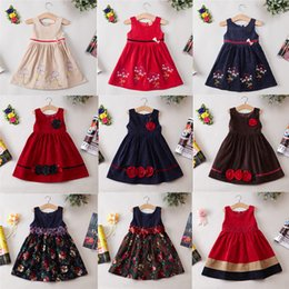 Wholesale Corduroy Dress Girls - Girls Corduroy Dresses For Winter Baby Dress New Arrival Flower Dresses Size 2Y-7Y Cute Baby Girls Skirts 2017 Summer For Xmas Gifts