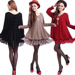 Wholesale Knitted Tunic Dress - Wholesale-2015 Fashion Ladies Long Sleeve Knit Tunic Loose Tops Mini Dress Shirt Size10-18