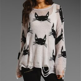 Wholesale Smile Cat Sweater - Wholesale- New Fashion Hollow Sweater Women Smile Face Tops Knit Sweaters Cat Print Hole O-Neck Sweater Ladies Cartoon Pullovers