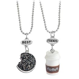Wholesale Miniature Charms - 2pcs set Cookie Coffee Best Friends Pendant Bead Chain Necklace Best Friend BFF Mini Miniature Food Jewelry BY DHL 161819