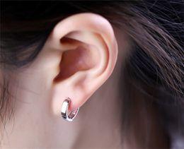 Wholesale Ear Hoop Stud Earrings - Woman Men's Punk Stainless Steel Small Hoop Huggie Piercing Clip Earrings Ear Studs jewelry for girlfriend  boyfriend birthday gift