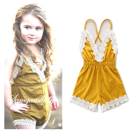 Wholesale V Brand Jumpsuit - Baby girls suspender pants girls dew shoulder jumpsuits kids lace hollow out embroidery suspender loose shorts summer children clothes T2655