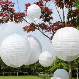 Wholesale Chinese Paper Lanterns Wedding - Hot Sale White Color Lantern Wedding Decor Round Chinese Paper Lanterns For Home Party Decoration 20pcs set Free Delivery