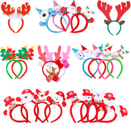 Wholesale Headdress Decor - Headdress Christmas Decor Santa Claus Snowman Elk Hoop Buckle Children Gift Multi Pattern Xmas Supplies Hot 3 9hq F R