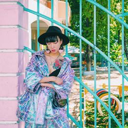 Wholesale Shiny Polyester Fabric - Wholesale- BT010 Original Design shiny coated compound fabric metal color oversize harajuku coat plus size loose women jacket autumn 2016