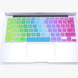 Wholesale Laptop Soft Cases - Soft Silicone Rainbow keyboard Case Protector Cover Skin For MacBook Pro Air Retina 11 12 13 15 Waterproof Dustproof retail box US Ver