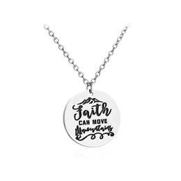 Wholesale Wholesale Faith Jewelry - 12pcs lot Faith Can Move Mountains pendant necklace Jesus God Christian Bible Inspirational Jewelry Necklace