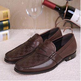 Wholesale Causal Slip Loafers Men - Brand Designer Autumn Style Genuine Leather Men Formal Oxford Shoes Men's Party Wedding Dress Shoes Men Loafers male's Causal Flats