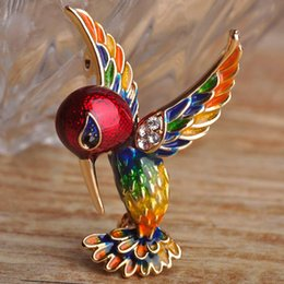 Wholesale Red Bird Games - Wholesale- Blucome Red Enamel Bird Brooches Pins for Women Gold Plated Banquet Costume Decoration Game Cut Magpie Animal Brooch Hijab Pin