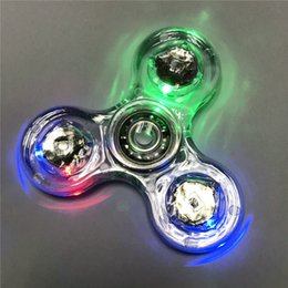 Wholesale Jelly Crystals Balls Wholesale - Luminous Glitter Jelly Clear Fidget Spinner Led Spinner Crystal Hand Spinner Tri Fidget Ceramic Ball Desk Focus Toys