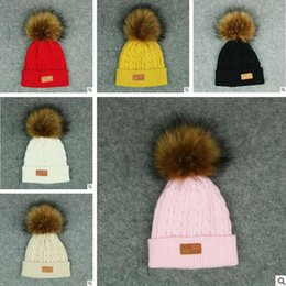 Wholesale Knitted Hats For Babies - Hat Kids Ball Pompom Cap Kids Winter Baby Fur Girl Boy Winter Knitted Wool Hats Caps for Girls Beanies Best Gifts Free Shipping