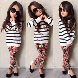 Wholesale Kids Floral Leggings - Cute Baby Kids Girls Clothes Stripe T-shirt Tops + Floral Leggings 2pcs Outfit Sets 2017 Fall Winter Children Girls Clothing Set