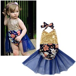 Wholesale Girls Cloting - Pricess Baby Girls Rompers Kids Clothes Lace Hollow Paillette Romper Pretty Girl Infant Floral Flower Jumpsuit Cloting AA46