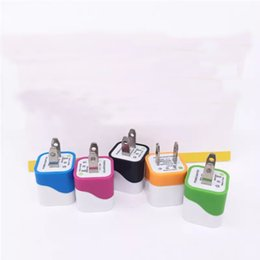 Wholesale Cheap Usb Chargers - colorful wave one usb home charger 2 pin charging 5V 1A cheap price charging plug USA wall adapter