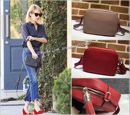 Wholesale Real Leather Handbags Designer - Free Shipping Fashion Designer Black Tassel Litchi Shoulder Bags Top Quality Women Real Leather Disco Bag Flap Handbags 308364