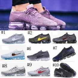 Wholesale Rainbow 45 - 2018 VaporMaxes Trainer Shock Racer Running Shoes Top quality Rainbow Grey Gold Gray Fashion Casual VaporMaxes Sports Sneakers Size 36-45